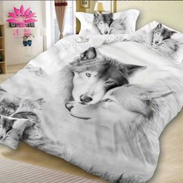 Wholesale Orange Comforter Sets Queen - muchun Brand Cotton Bedding Sets 4 pcs Bedding Comforter Set Duvet Covers 3D Flower&Wolf Printing Bed sheet Wholesale Queen Home Textiles