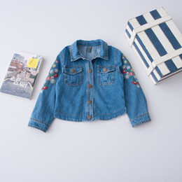 Wholesale Girls Autumn Button Jacket - Everweekend Girls Floral Embroidered Denim Jacket Sweet Baby Button Pocket Coat Cute Kids Western Fashion Fall Clothing