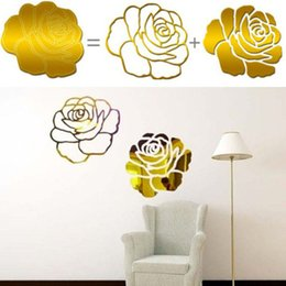 Wholesale Big Rose Bedding - Removable 3D Acrylic Mirror Big Rose Flowers Pattern Living Room Wall Stickers Home Decoration Bed Room Wall Sticker VBD50 P53