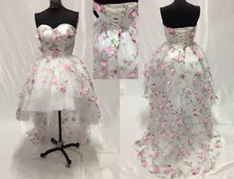Wholesale Hote Sexy Dress - Hote sale Ball Gown High Low Hi-Lo Watteau train Sweetheart 3D Flowers Organza Homecoming Dresses