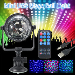 Wholesale Remote Usb Power - RGB LED Stage Light Mini 3W Remote Controls Light Disco Ball Lights LED Party Lamp Show Stage Lighting Effect USB Powered DC5V