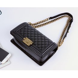 Wholesale Classic Leather Shoulder Bag - women's Fashion and Classic designer women handbags High quality sheepskin shoulder bags with gold silver chains