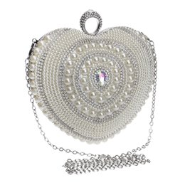 Wholesale Heart Shape Clutches - Wholesale-New arrival heart shaped women evening bags beaded small purse day clutches evening bags finger ring rhinestones wedding handbag