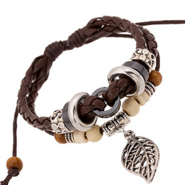 Wholesale Wood Flowers Wholesale - Men's Punk Vintage Multilayer Leather Bracelet Fashion Wooden Bead & Leaf Charms Bracelets & Bangles Boho Jewelry for Women Accessories
