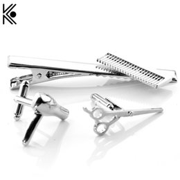Wholesale Iron Jewelry For Women - The barber jewelry Hair dryer scissors comb Alloy Cufflinks stickpin Tie clip clips High quality jewelry Gift For Man And Woman
