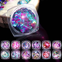 Wholesale Beads Tool - New Nail Art Decorations Laser Shining Sequins 12 Style Colorful Rhinestones Sparking Round Beads Nail Beauty Manicure Tool 2017