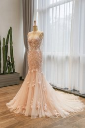 Wholesale Trumpet Flower Court Wedding Gown - Elegant Mermaid Lace Wedding Dresses Pink Wedding Gown Sweetheart Neckline Bridal Gown Flowers Beaded Wedding Dress