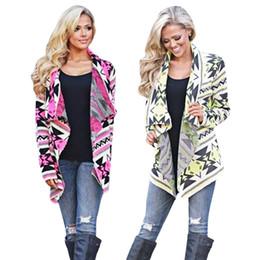 Wholesale Open Collar Long Sleeves Sweater - Wholesale- 2016 Trendy Turn-down Collar Long Sleeve Allover Print Women Geometric Printed Cardigan Women Autumn Open Stitch Long Sweaters