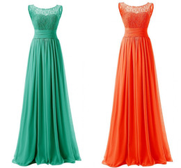 Wholesale Turquoise Blue Dress Red Carpet - Turquoise Prom Dresses Women Chiffon Orange Long Dress Small Round Neck Lace Blue Cheap Custom Fast Delivery Evening Dress Red Plus Size