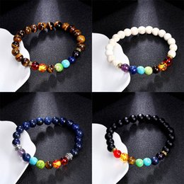 Wholesale Heal Plates - Mixed styles New 7 Chakra Bracelet Men Women Healing Balance Beads Reiki Buddha Prayer Natural Stone Yoga Bracelet Jewelry Gift