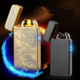 Wholesale Mini Flameless Cigarette Lighter - mini cool People Dual Arc USB Electronic Rechargeable Cross Flameless Cigarette no gas zinc Alloy Eco-friendly Lighter