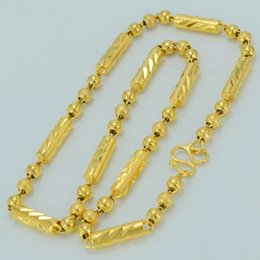 Wholesale 14k Thick Gold Chain - Anniyo 52CM 59CM,Beads Necklaces for Women's.Ethiopian Thick Chain Gold Color Africa Jewelry Gift #040506