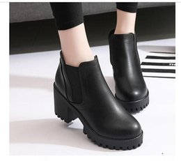 Wholesale Thick British Women - 2017 autumn and winter new British wind single boots women's anti-skid thick and thick with the thick Martin boots plus cashmere round water