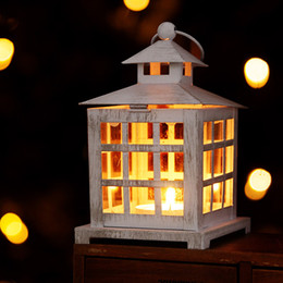 Wholesale Block Out - Square Candle Holders Metal Hollow Out Decorative Iron White Candle Holders Antique Style Candlestick Hanging Lantern
