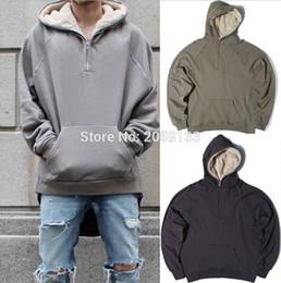 Wholesale Half Neck Fur Jackets - Wholesale- 2017 new fashion streetwear hiphop half zip split up sherpa hoodie fleece jacket latex fur coats designer mens clothing S M L XL