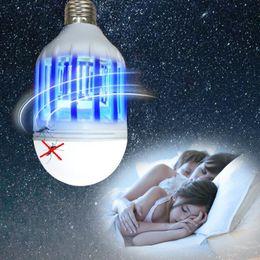 Wholesale Blue Night Light Bulbs - Mosquito Killer LED Bulb 110V 15W LED Bug Zapper Lamp E27 Insect Mosquito Repeller Night Lighting Killing Fly Bug Night Light