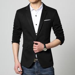 Wholesale Blaser Mens - Wholesale- Mens Blazer long sleeve Red blue coat Black slim suit jacket Spring Autumn casual new 2017 arrival erkek kaban blaser masculino