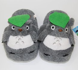 Wholesale Kids Slippers Wholesale - Hot Retail Totoro Slippers Grey My Neighbor Totoro Figures cartoon plush slipper 11inch totoro