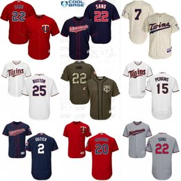 Wholesale Mens Twins - Mens Minnesota Twins Baseball Jersey Cheap 2 Brian Dozier 20 Eddie Rosario 22 Miguel Sano 24 Trevor Plouffe 48 Torii Hunter Jerseys