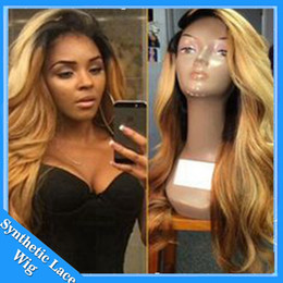Wholesale Black Blonde Hair Wig - Best Quality Body Wave 1BT27#30# Ombre Black to Blonde Color Synthetic Lace Front Wig Heat Resistant Synthetic Swiss Lace Hair Wigs In Stock