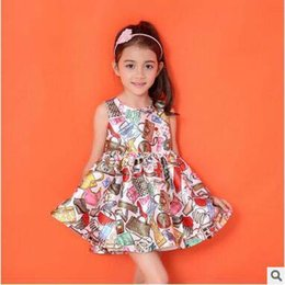 Wholesale Hot Fashion Children Dresses - New Fashion Children Girl's All Printed Dress Elegant Vogue Sleeveless Dress Party Queen Dress For Little Lady Hot Selling