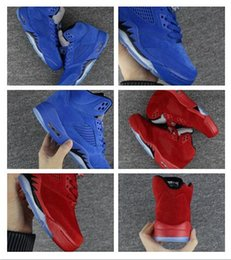 Wholesale Retro Bull - Men Basketball Shoes Women Air Retro 5 V Raging Bull Red Suede Tongue Reflect Suede Sneakers Olympic OG metallic Retro 5s Sports Trainers