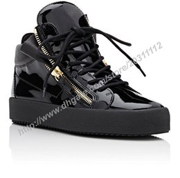 Wholesale Sneakers Shoes High Platforms - High quality Italy fashion brand mid-top men sneakers women casual Platform Non-slip soles shoes matte leather lace-up rubber sole shoes