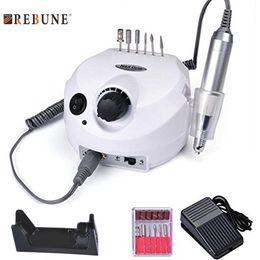 Wholesale Manicure Machine Kits - REBUNE Pro 35000RPM Electric Nail Drill Manicure 110 220V Nail File Bit Machine Manicure Kit Salon & Home Nail Tool Set