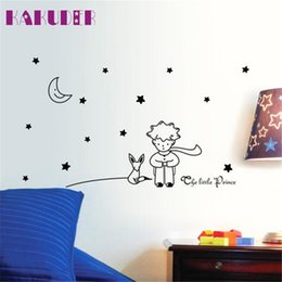 Wholesale Boys Room Wall Decor - Wholesale- Stars Moon The Little Prince Boy Wall Sticker for kids room Home Decor Wall Decals DIY poster vinilos paredes quality first