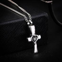 Wholesale Acrylic Pendants Designs - Silver Christian Cross Locket Ashes Urn Necklace Cremation Heart Design Pendant Keepsake Jewelry