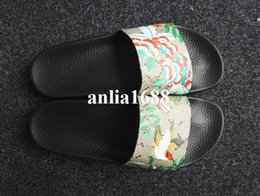 Wholesale Black Cat Slippers - 2017 fashion angry cat tiger head printing leather slide sandals for mens and womens beach slippers size euro 35-45