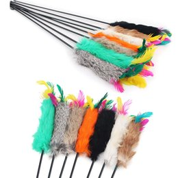 Wholesale Cat Training Aid - Feather Wand Stick For Cat Catcher Teaser Toy For Pet Kitten Jumping Train Aid Fun 55cm Length send randomly