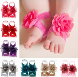 Wholesale Tie Up Barefoot Sandals - Toddler Girls Baby Chiffon Flower Shoes Newborn Infant Barefoot Sandals Kids Children First Walker Shoes Photography Props