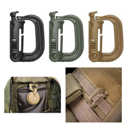 Wholesale Wholesale Key Ring Hooks - Outdoor Gear Military Tactical D Ring Plastic Carabiner Backpack Hang Buckle Hook Key Clip Carabiner Spring Snap Hook