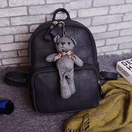 Wholesale Crochet Bears Sale - 2017 car stitch bear bear shoulder female Korean version of the school wind students bag backpack low price for sale