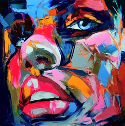 Wholesale Oil Painting Frame Knife - Hand painted Palette knife painting portrait Palette knife Francoise Nielly Man Face Oil painting Impasto figure on canvas Modern Art Wall