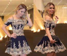Wholesale Short Club Lace Cocktail Dress - Sexy Short Mini Navy Blue Cocktail Dresses Club Party Gowns With Gold Lace Applique Women Prom Dresses Off Shoulder Formal Occasion Gowns