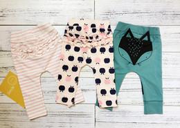 Wholesale Wholesale Headbands Leggings - Owlbaby ins children spring summer leggings 2017 baby fox headband print PP pants infant toddlers soft cotton cartoon harem pants