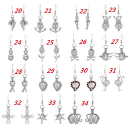 Wholesale Hot Sale Love Wish Pearl Cages Locket Earrings Freshwater Pearls Oyster Pendant Earrings Excluding Pearl Canned Hollow Out Dangle Earrings