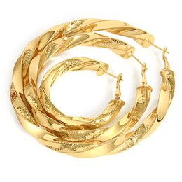 Wholesale Big Yellow Earrings - 5,6,7,8cm 4 sizes mixed order bent big hoops earrings 18k yellow gold plated twisted small large hoop earrings for women #020Y