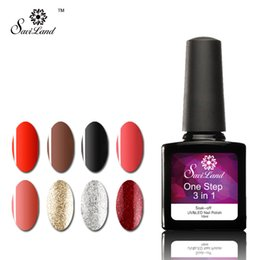 Wholesale Wholesale Green Nail Polish - Wholesale- Saviland 1pcs One Step 3 in 1 Varnishes 24 Colors Long-lasting LED UV Gel Polish Nail Gel One Step 3 in 1 Esmalte