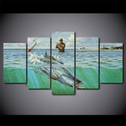 Wholesale Bedding Pictures - 5 Pcs Set Framed HD Printed Ocean Fishing Sports Modern Home Decor Canvas Picture Art Print Painting On Canvas For Bed Room