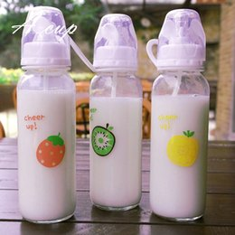 Wholesale Decorations Nipples - South Korean children's creative personality a cup of milk fruit nipple of male and female students couple leak proof glass with cover