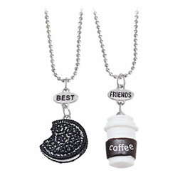 Wholesale Wholesales Best Friends Necklaces - Cookie and Coffee Best Friend Necklace Miniature Food Necklace Round Resin Necklace Alloy Chain for Kids or Friends