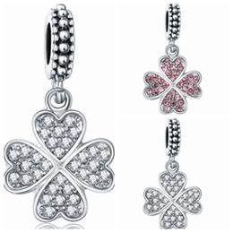 Wholesale Clover Design Necklaces - Wholesale 20pcs lot Beautiful Rhinestone Four-Leafs Clover Design Alloy metal Dangle DIY Charms fit European Bracelet & Necklace Low Price