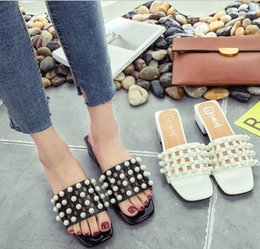 fda7650a8b19 2017 summer new ladies sandals Korean version of the pearl cool slippers  with the fish mouth with the word slippers free shipping 1 pair