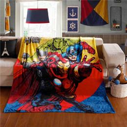 Wholesale Wholesale Throw Blankets Coral - 2017 NEW Cartoon Flannel Blanket 150x200cm The Avengers Hero Pattern Sofa Bed Throw Blanket Kid Adult Warm Blanket Custom Wholesale