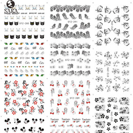 Wholesale Lace Nail Decals - Wholesale- Sara Nail Salon 1Sheet Black Nail Stickers Lace Flower Designs Water Transfer Nail Tips Decals Sexy Decor Accessories STZ280-309