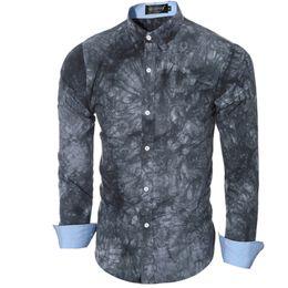 Camisa de hombre de lujo de la marca masculina de manga larga camisetas Casual impresión Tie-Dye Slim Fit Camisas de vestir para hombre hawaiano Camisa Masculina desde fabricantes