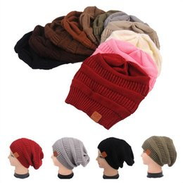 Wholesale Chunky Acrylic Yarn - 11 Colors CC Knitted Hats CC Trendy Beanie Women Winter Chunky Skull Caps Cable Knit Slouchy Crochet Hats Warm Oversized Hat CCA6862 30pcs
